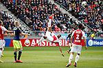 Nederland, Utrecht, 5 april 2015<br /> Eredivisie<br /> Seizoen 2014-2015<br /> FC Utrecht-Ajax (1-1)<br /> Sebastien Haller van FC Utrecht werkt de bal weg met een omhaal