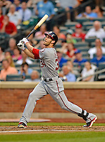 24 July 2012: Washington Nationals rookie outfielder Bryce Harper at bat against the New York Mets at Citi Field in Flushing, NY. The Nationals defeated the Mets 5-2 to take the second game of their 3-game series. Mandatory Credit: Ed Wolfstein Photo