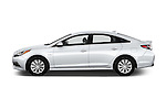 Car Driver side profile view of a 2016 Hyundai Sonata Hybrid SE 4 Door Sedan Side View