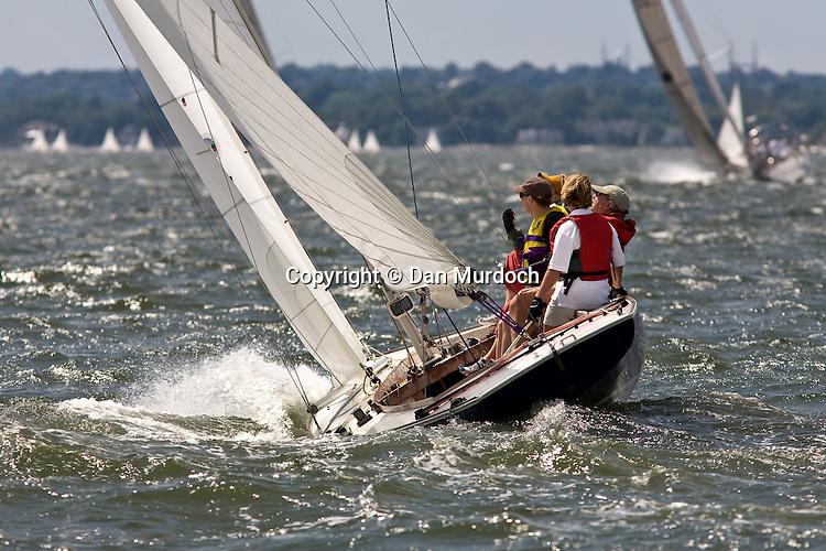 A racing Atlantic sailboat in a brisk wind