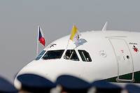 The plane with Pope Benedict XVI on board lands at the Prague Airport, Czech Republic, 26 September 2009.
