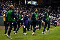 USA team subs warm up.USA vs Honduras, Saturday Jan. 23, 2010 at the Home Depot Center in Carson, California. Honduras 3, USA 1.
