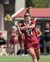 NEWTON, MA - MAY 16: Bridget Whitaker #27 of Temple University looks to pass during NCAA Division I Women's Lacrosse Tournament second round game between Temple University and Boston College at Newton Campus Lacrosse Field on May 16, 2021 in Newton, Massachusetts.