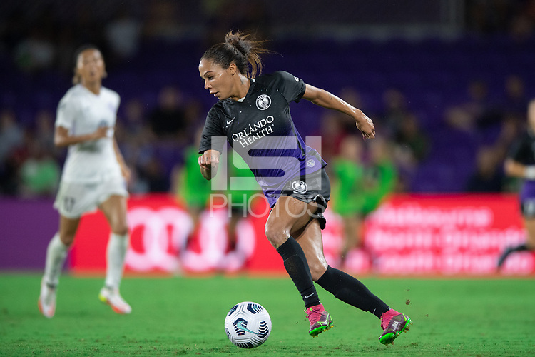 ORLANDO, FL - SEPTEMBER 11: Sydney Leroux #2 of the Orlando Pride dribbles the ball during a game between Racing Louisville FC and Orlando Pride at Exploria Stadium on September 11, 2021 in Orlando, Florida.
