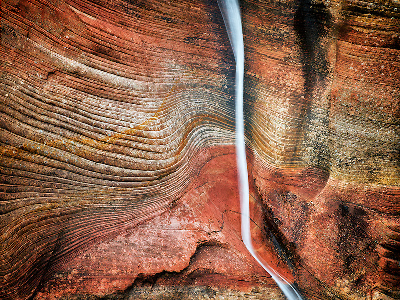 A stream lasting only hours after a rainstorm in Zion National Park, Utah