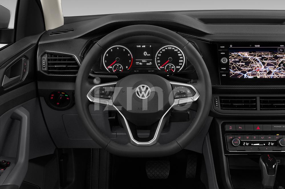Car pictures of steering wheel view of a 2019 Volkswagen T-Cross Life 5 Door SUV Steering Wheel
