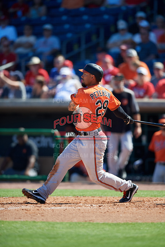 Baltimore Orioles third baseman Jace Peterson (29) follows through on a swing during a Grapefruit League Spring Training game against the Philadelphia Phillies on February 28, 2019 at Spectrum Field in Clearwater, Florida.  Orioles tied the Phillies 5-5.  (Mike Janes/Four Seam Images)