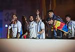 Real Madrid's Sergio Ramos, Mariano Diaz, Daniel Carvajal, Nacho Fernandez, Alvaro Morata, Marco Asensio and Enzo Zidane celebrate the victory in La Liga 2016/2017 Championship. May 21,2017. (ALTERPHOTOS/Inma Garcia)