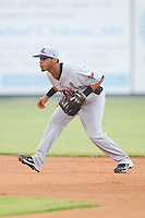Shortstop Leury Garcia #3 of the Hickory Crawdads on defense against the Kannapolis Intimidators at Fieldcrest Cannon Stadium August 18, 2010, in Kannapolis, North Carolina.  Photo by Brian Westerholt / Four Seam Images