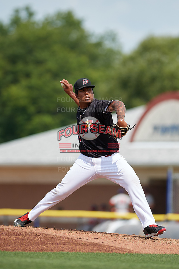 Batavia Muckdogs relief pitcher Alberto Guerrero (41) delivers a pitch during a game against the Auburn Doubledays on September 1, 2018 at Dwyer Stadium in Batavia, New York.  Auburn defeated Batavia 10-5.  (Mike Janes/Four Seam Images)