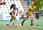 GER - Mannheim, Germany, May 24: During the U16 Girls match between Australia (green) and Germany (white) during the international witsun tournament on May 24, 2015 at Mannheimer HC in Mannheim, Germany. Final score 0-6 (0-3). (Photo by Dirk Markgraf / www.265-images.com) *** Local caption *** Sonja Zimmermann #13 of Germany, Alice Arnott #6 of Australia