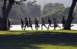 Cross Country runners race at Legg Lake Park in Whittier, California