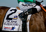 Oleksandra #2, ridden by Joel Rosario, wins the Jaipur Stakes before the 152nd running of Belmont Stakes at Belmont race track in Elmont, New York, USA, 20 June 2020. The Belmont is being run without fans due to coronavirus SARS-CoV-2 which causes the Covid-19 disease and while it has always been the third leg of the Triple Crown, due to Covid-19 it is, instead the first leg in 2020.  photo by Scott Serio/Eclipse Sportswire