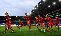 Connor Roberts of Wales (centre) during the pre-match warm-up for the UEFA Nations League B match between Wales and Ireland at Cardiff City Stadium in Cardiff, Wales, UK.September 6, 2018