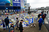 Pictured: Tributes for Emiliano Sala laid down outside the Cardiff City Stadium in south Wales, UK. Saturday 26 January 2019<br /> Re: Premier League footballer Emiliano Sala was on a flight which disappeared between France and Cardiff.<br /> The Argentine striker was one of two people on board the Piper Malibu, which disappeared off Alderney on Monday night.<br /> Cardiff City FC, signed the 28-year-old from French club Nantes.