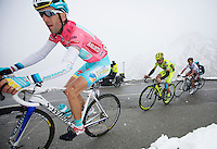 2013 Giro d'Italia.stage15..Vincenzo Nibali through the snow up the final climb of the Col de Galibier