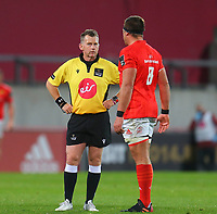 10th October 2020; Thomond Park, Limerick, Munster, Ireland; Guinness Pro 14 Rugby, Munster versus Edinburgh; CJ Stander (c) of Munster has a word with Referee Nigel Owens between plays