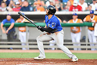 Biloxi Shuckers Dillon Thomas (25) swings at a pitch during a game against the Tennessee Smokies at  on August 10, 2019 in Kodak, Tennessee. The Shuckers defeated the Smokies 7-3. (Tony Farlow/Four Seam Images)