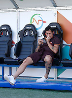 Calcio, Serie A: Frosinone vs Roma. Frosinone, stadio Comunale, 12 settembre 2015.<br /> Roma's Juan Iturbe sits on the bench during the Italian Serie A football match between Frosinone and Roma at Frosinone Comunale stadium, 12 September 2015.<br /> UPDATE IMAGES PRESS/Isabella Bonotto