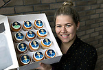 The city of Perth shows it's support for St Johnstone ahead of Saturdays Scottish Cup Final against Hibs at Hampden... 21.05.21<br />Danni Duncan pictured with a set of special edition St Johnstone cupcakes ahead of saturday's Scottish Cup Final against Hibs.<br />Picture by Graeme Hart.<br />Copyright Perthshire Picture Agency<br />Tel: 01738 623350  Mobile: 07990 594431