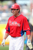 Philadelphia Phillies outfielder Scott Podsednik #22 during a scrimmage against the Florida State Seminoles at Brighthouse Field on February 29, 2012 in Clearwater, Florida.  Philadelphia defeated Florida State 6-1.  (Mike Janes/Four Seam Images)
