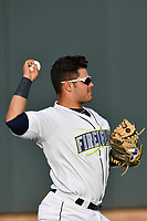 Catcher Brandon Brosher (25) of the Columbia Fireflies warms up before a game against the Lexington Legends on Saturday, April 22, 2017, at Spirit Communications Park in Columbia, South Carolina. Lexington won, 4-0. (Tom Priddy/Four Seam Images)