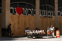 NEW YORK, NEW YORK - JUNE 08: A Boarded up store is seen in Times Square on June 08, 2020 in New York City. The City began first phase of reopening after nearly three months of shutdown , also Protests continue over black Americans abuse by the Police (Photo by Kena Betancur/VIEWpress via Getty Images)