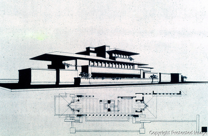 F.L. Wright: Drawing, Frederick C. Robie House, 1909.