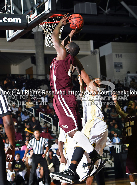 Alabama A&M Bulldogs forward Jonathan Inman (44) in action during the SWAC Tournament game between the Alabama State Hornets and the  Alabama A&M Bulldogs at the Special Events Center in Garland, Texas. Alabama State Hornets defeat Alabama A&M Bulldogs 81 to 61
