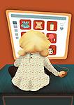Illustration of kid shopping online