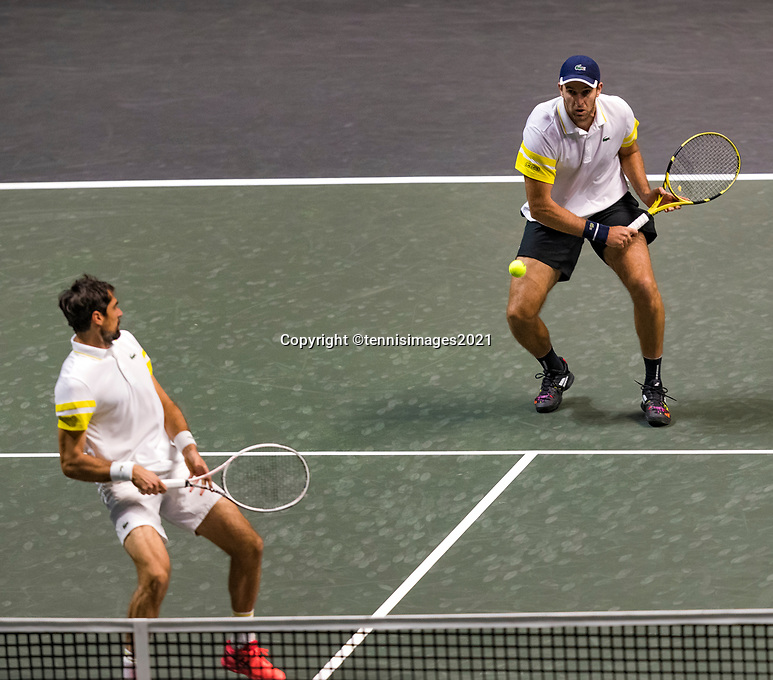 Rotterdam, The Netherlands, 28 Februari 2021, ABNAMRO World Tennis Tournament, Ahoy, First round doubles: Jeremy Chardy (FRA) / Fabrice Martin (FRA)<br /> Photo: www.tennisimages.com/henkkoster