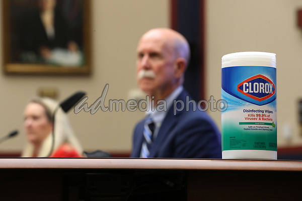 Clorox wipes and Purell hand sanitizer are available for members of the United States House Education and Labor Committee, their staff and witnesses to use during a hearing about the federal government's role in protecting workers during the coronavirus pandemic on Capitol Hill May 28, 2020 in Washington, DC. More than 62,000 health care workers have been infected with COVID-19 and close to 300 have died according to the U.S. Centers for Disease Control. <br /> Credit: Chip Somodevilla / Pool via CNP/AdMedia