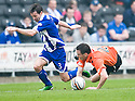 :: DUNDEE UTD'S KEITH WATSON IS FOULED BY GARRY HAY :: .23/04/2011   Copyright  Pic : James Stewart.sct_jsp030_dundee_utd_v_kilmarnock .James Stewart Photography 19 Carronlea Drive, Falkirk. FK2 8DN      Vat Reg No. 607 6932 25.Telephone      : +44 (0)1324 570291 .Mobile              : +44 (0)7721 416997.E-mail  :  jim@jspa.co.uk.If you require further information then contact Jim Stewart on any of the numbers above.........
