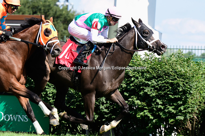 June 26, 2021: Set Piece (GB) #1, ridden by jockey Florent Geroux, wins the Wise Dan Stakes (Grade 2) on the turf at Churchill Downs on June 26, 2021 in Louisville, Kentucky. Jessica Morgan/Eclipse Sportswire/CSM