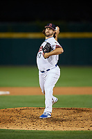 Buffalo Bisons relief pitcher John Stilson (17) delivers a pitch during a game against the Syracuse Chiefs on June 30, 2017 at Coca-Cola Field in Buffalo, New York.  Syracuse defeated Buffalo 8-1.  (Mike Janes/Four Seam Images)