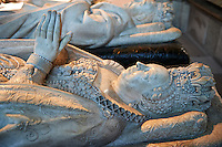 Tomb of (background) King Henry II of France (1519 - 1559) second son of Francis I and Catherine de Medici (1519 - 1589) daughter of Lorenzo II de Medici. The Gothic Cathedral Basilica of Saint Denis ( Basilique Saint-Denis ) Paris, France. A UNESCO World Heritage Site.. The Gothic Cathedral Basilica of Saint Denis ( Basilique Saint-Denis ) Paris, France. A UNESCO World Heritage Site.