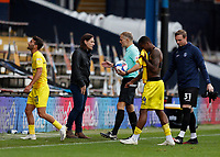 3rd October 2020; Kenilworth Road, Luton, Bedfordshire, England; English Football League Championship Football, Luton Town versus Wycombe Wanderers; Wycombe Wanderers Manager Gareth Ainsworth asking Referee Graham Scott for an explanation after a goal from Scott Kashket of Wycombe was flagged offside as a disappointed Scott Kashket of Wycombe Wanderers walks back into the Wycombe Wanderers tunnel