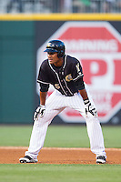 Michael Taylor (45) of the Charlotte Knights takes his lead off of second base against the Scranton/Wilkes-Barre RailRiders at BB&T Ballpark on July 17, 2014 in Charlotte, North Carolina.  The Knights defeated the RailRiders 9-5.  (Brian Westerholt/Four Seam Images)