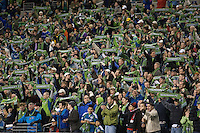 Seattle Sounders Fans in a 3-0 Seattle Sounders victory over the New Your Red Bulls, Thursday, March 19, 2009.