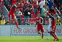 17 September 2011: Toronto FC midfielder Danny Koevermans #14 celebrates his second goal during a game between the Colorado Rapids and Toronto FC at BMO Field in Toronto..Toronto FC won 2-1.