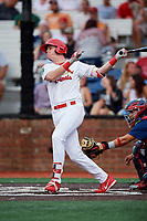 Johnson City Cardinals right fielder Kevin Woodall (34) follows through on a swing in front of catcher Ricardo Rodriguez (49) during a game against the Danville Braves on July 28, 2018 at TVA Credit Union Ballpark in Johnson City, Tennessee.  Danville defeated Johnson City 7-4.  (Mike Janes/Four Seam Images)