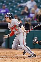 Travis Lee #5 of the Sam Houston State Bearkats follows through on his swing against the Texas Christian Horned Frogs at Minute Maid Park on February 28, 2014 in Houston, Texas.  The Bearkats defeated the Horned Frogs 9-4.  (Brian Westerholt/Four Seam Images)