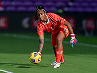 ORLANDO, FL - FEBRUARY 18: Solana Pereyra #1 of Argentina rolls out the ball during a game between Argentina and Brazil at Exploria Stadium on February 18, 2021 in Orlando, Florida.
