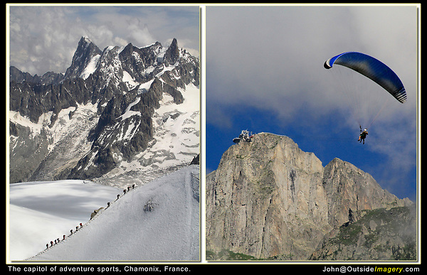 France, Chamonix. <br /> John has been photographing adventure sports and travel for many years. A typical day in the French Alps surrounding Chamonix.