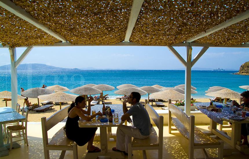 Beautiful island of Mykonos Greece and beach called St Stefanos Beach