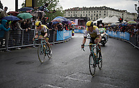 Maarten Tjallingii (NLD/LottoNL-Jumbo) & Jos van Emden (NLD/LottoNL-Jumbo) leading in the local final laps around Torino<br /> <br /> stage 21: Cuneo - Torino 163km<br /> 99th Giro d'Italia 2016
