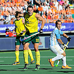 The Hague, Netherlands, June 13: Jeremy Hayward #32 of Australia celebrates after scoring a penalty corner for a 2-0 lead during the field hockey semi-final match (Men) between Australia and Argentina on June 13, 2014 during the World Cup 2014 at Kyocera Stadium in The Hague, Netherlands. Final score 5-1 (3-0)  (Photo by Dirk Markgraf / www.265-images.com) *** Local caption ***