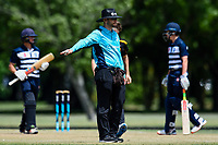 Umpire in action between Otago Boys High School and CS Wellington College during the Gillette Cup Finals, Hagley Park, Christchurch, New Zealand. 5th December 2019. Photo: John Davidson, www.bwmedia.co.nz