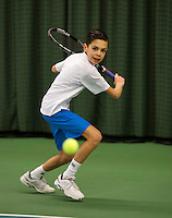 Rotterdam, The Netherlands, 07.03.2014. NOJK ,National Indoor Juniors Championships of 2014,  Jay Zwinkels (NED)   Teun Rozenberg (NED)<br /> Photo:Tennisimages/Henk Koster