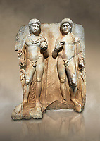 Roman Sebasteion relief  sculpture of  Two princes, Aphrodisias Museum, Aphrodisias, Turkey. Against an art background.<br /> <br /> Two princes stand like statues, naked, wearing cloaks. The left figure holds the orb of the world in one hand, a symbol of  world rule that indicates he is the imperial heir, and in the other a ship's stern ornament (aphlaston), a symbol of naval victory. They and probably Gius and Lucius, the grandsons of Augustus, or Nero and Britanicus, Claudius' heir.